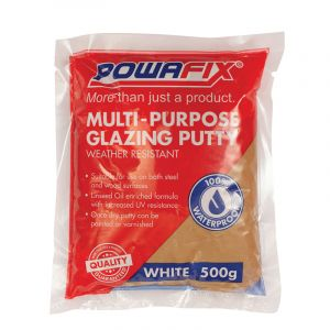 Powafix Multi Purpose Glazing Putty, White, 500g