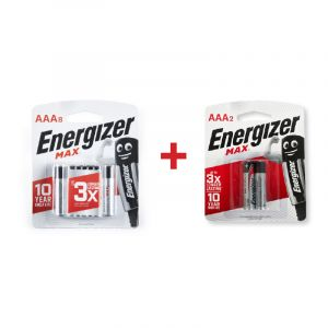 Energizer MAX Batteries, AAA, 8 + 2 Pieces