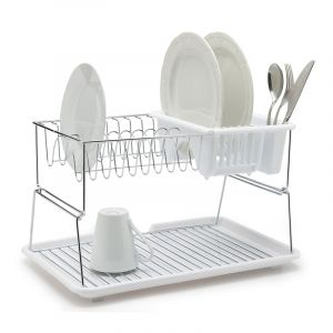 Dish Rack, 2 Tier, White/Stainless Steel