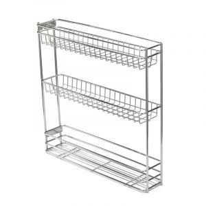 Base Mounted Pull Out, 3 Tier, Chrome Plated, 150 Unit