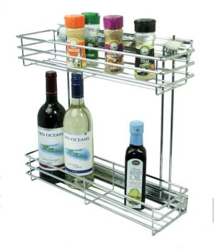 Side Mounted Pull Out, 2 Tier, Chrome Plated, 150 Unit