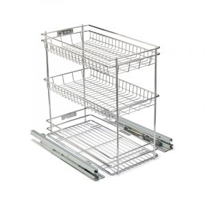 Base Mounted Pull Out, 3 Tier, Chrome Plated, 300 Unit