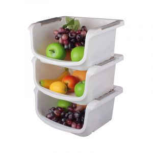 Stacking Baskets, White Plastic, 3 Pieces