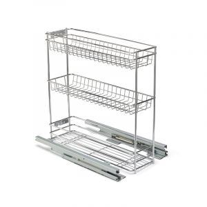 Base Mounted Pull Out, 3 Tier, Chrome Plated, 200 Unit