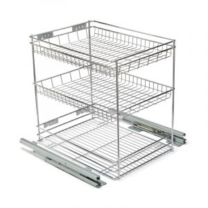 Base Mounted Pull Out, 3 Tier, Chrome Plated, 400 Unit