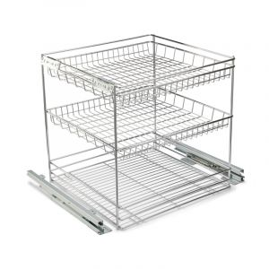 Base Mounted Pull Out, 3 Tier, Chrome Plated, 500 Unit