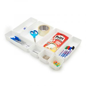 Drawer Organiser, White, 8 Pieces