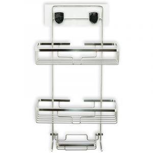 Nanogrip Stick-On Shower Caddy, 3 Tier, Stainless Steel