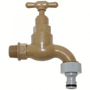 Pro-Close Plastic Tap, 15mm x 3/4'', with Hose Tail