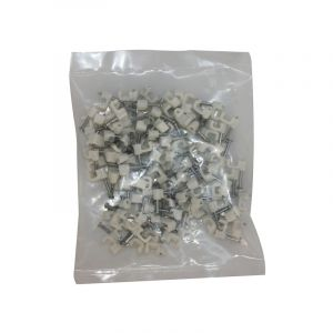 Cable Clips, Flat, White, 10mm, 100 Pieces